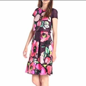 NWT- Vince Camuto Floral Flare Print Dress Size 4